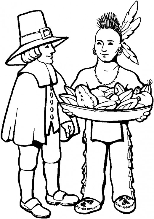 520x738 7 free thanksgiving coloring pages indian man pilgrim and