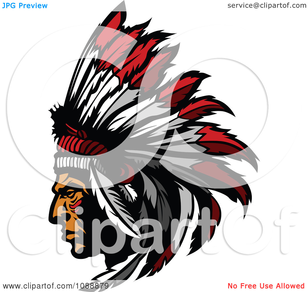 1080x1024 Native American Clipart Chief Head