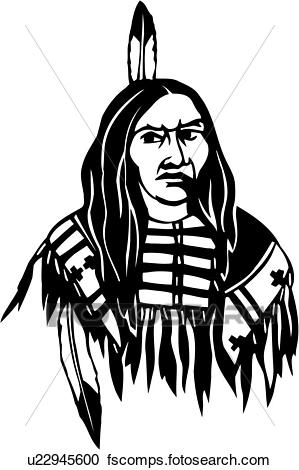299x470 Clipart Of , American, Face, Head, Indian, Man, Native American