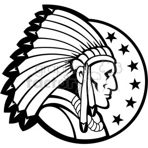 300x300 Royalty Free Black And White Indian Chief Side Headdress 001