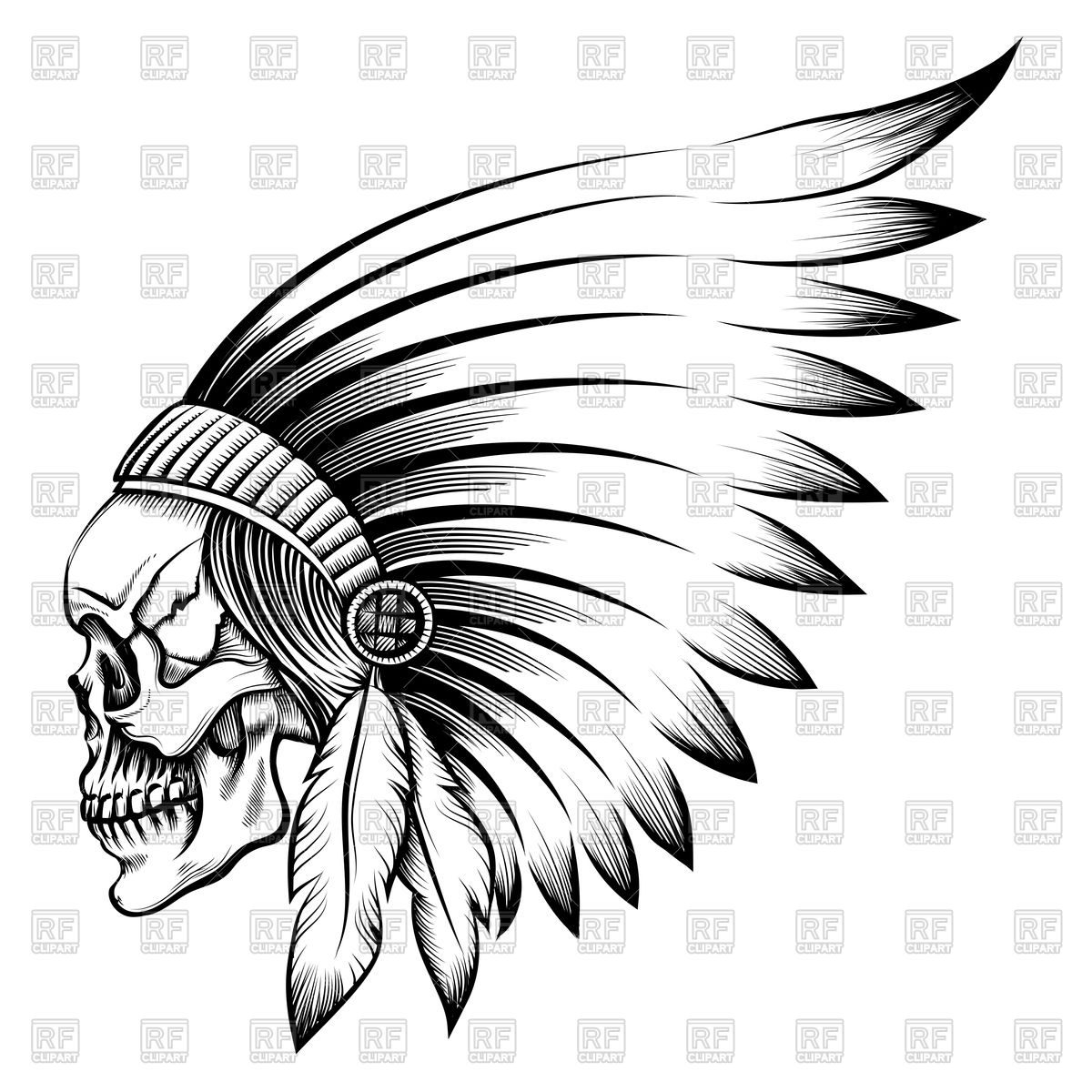 1200x1200 Indian Chief Skull In Engraving Style Royalty Free Vector Clip Art
