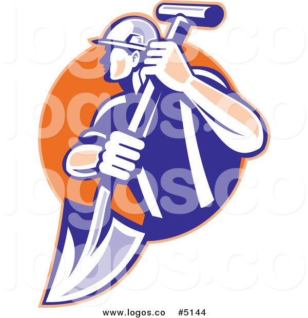 600x620 Royalty Free Vector Of A Construction Worker And Shovel Logo By