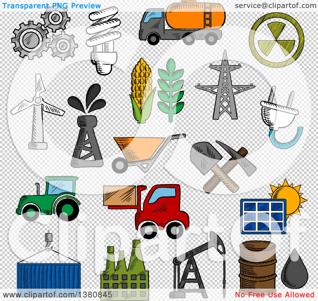1080x1024 Clipart Of Sketched Industry Energy Icons With Oil Pump