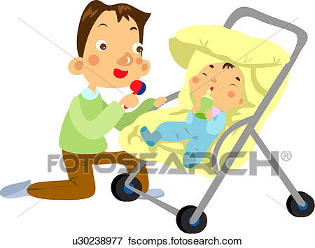 450x355 Clip Art Of Nursing Bottle, Baby, Baby Carriage, Baby Buggy