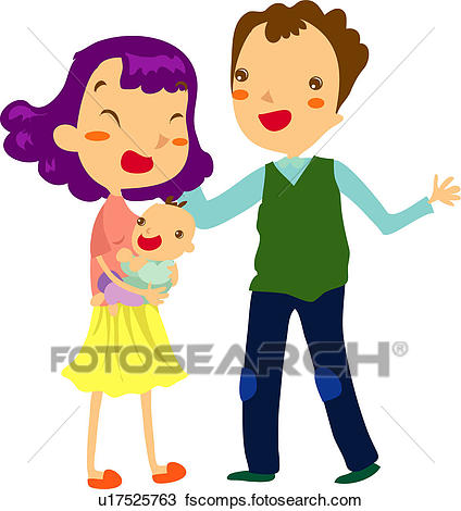 424x470 Clipart Of Mother, Infant, Baby, Daughter, Father U17525763