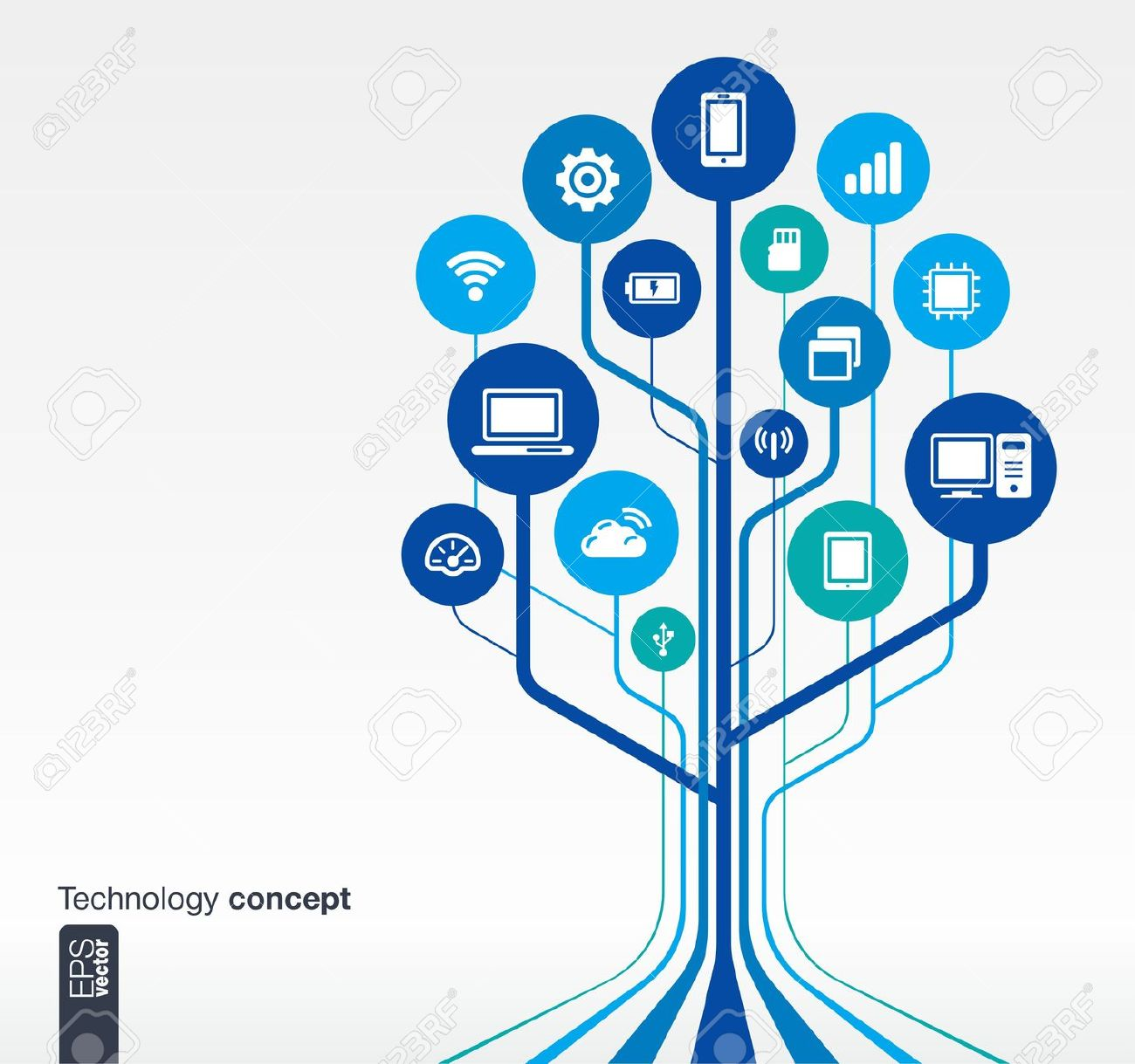 1300x1219 Tree With Technology Clipart