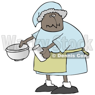 400x400 Illustration Of A Black Lady In A Green Apron, Putting Ingredients