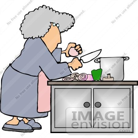 450x450 Senior Woman Making Soup, Preparing Ingredients Clipart
