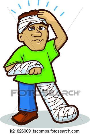 314x470 Clip Art Of Injured Man Cartoon K21826009