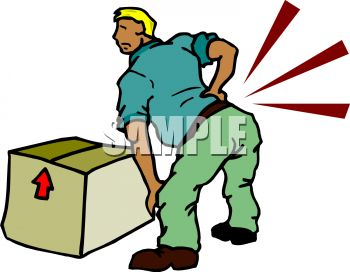 350x272 Royalty Free Clipart Image Cartoon Of A Man With A Back Injury