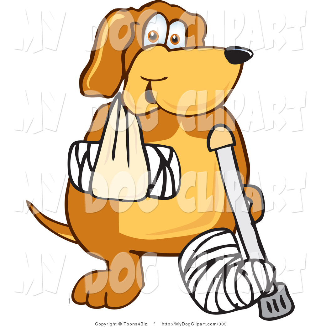 1024x1044 Clip Art Of A Brown Dog Mascot Cartoon Character With An Injury