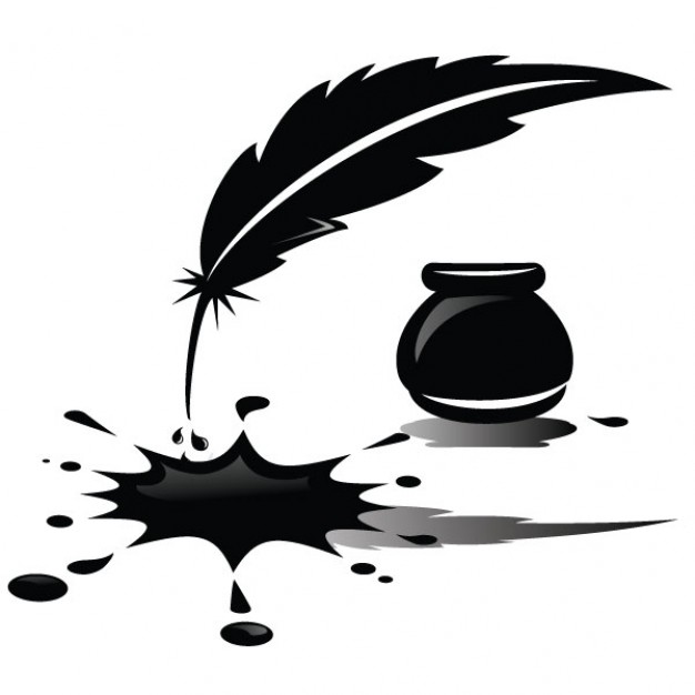 626x626 Spilled Ink And Feather Illustration Vector Free Download