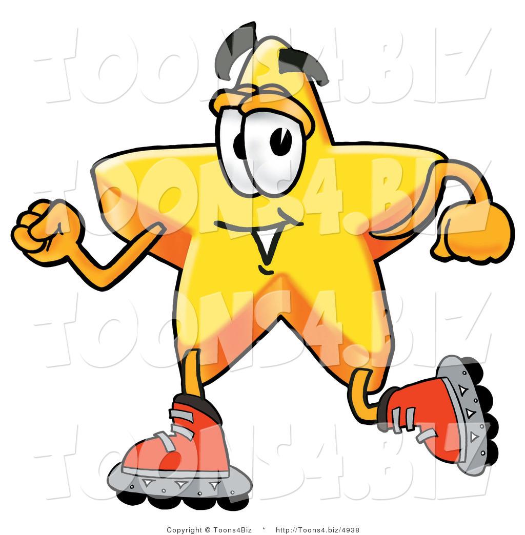 1024x1044 Illustration Of A Cartoon Star Mascot Roller Blading On Inline
