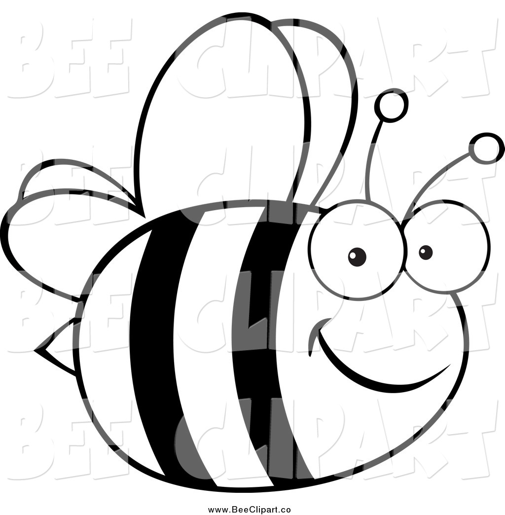 1024x1044 Cartoon Vector Clip Art Of A Black And White Happy Bee By Hit Toon