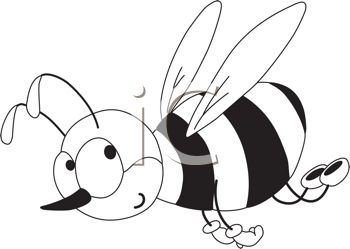 350x249 Picture Of A Honeybee Flying In Black And White In A Vector Clip
