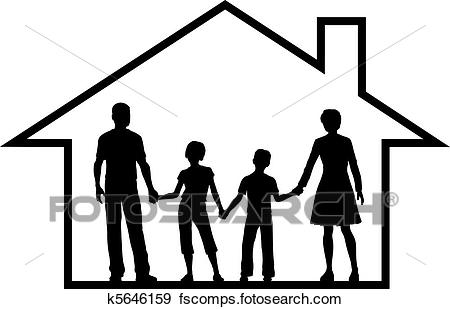 450x309 Clip Art Of Family House Parents Kids Inside Safe Home K5646159