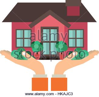 326x320 Sticker Contour Of Hands Holding A House With Heart Inside Stock