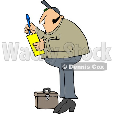 400x400 Free (Rf) Clipart Illustration Of A Worker Man Standing By A Tool