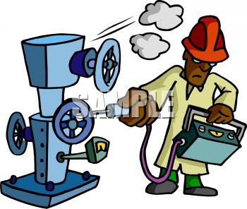 350x296 Royalty Free Clip Art Image Machine Inspector Checking Gauges