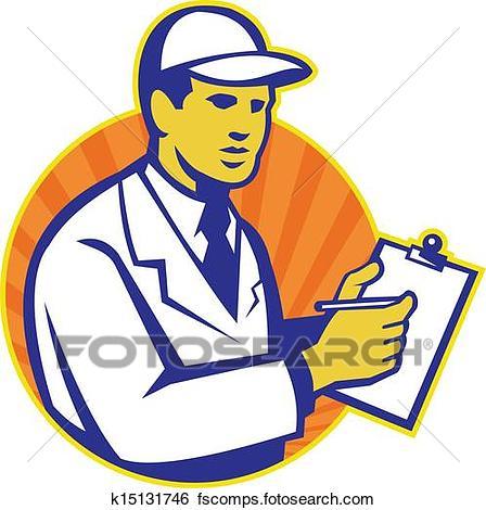 448x470 Clip Art Of Technician Inspector Worker Clipboard Retro K15131746