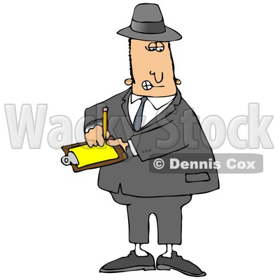 400x400 Clipart Illustration Image Of A Male Caucasian Inspector In A Hat