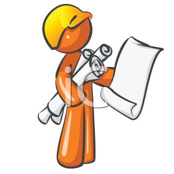 350x350 Orange Man Character Mascot Building Inspector