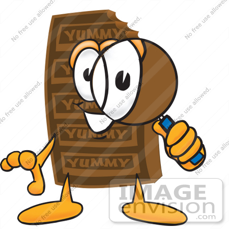 450x450 Clip Art Graphic Of A Chocolate Candy Bar Mascot Character Looking