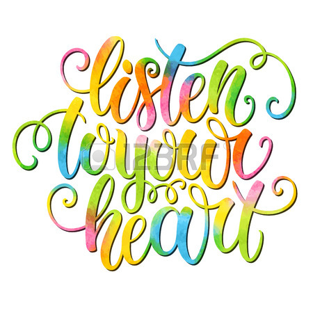 450x450 Listen To Your Heart Hand Lettering Doodle Watercolor Background