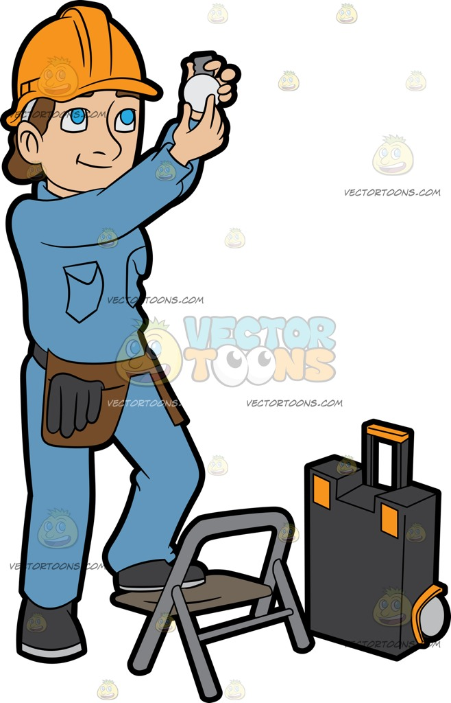 658x1024 A Female Electrician Installing A Light Bulb Cartoon Clipart