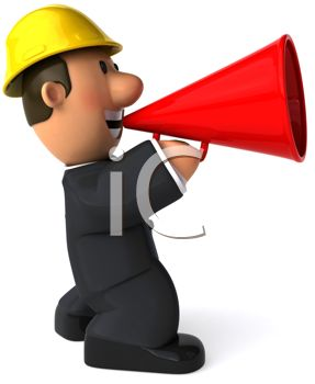 287x350 Foreman Giving Instructions Through A Megaphone