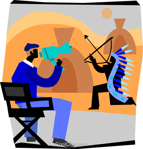462x480 Movie Director Giving Instructions Royalty Free Vector Clip Art