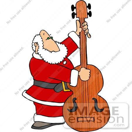 450x450 Santa Claus Playing An Upright Bass Instrument Clipart