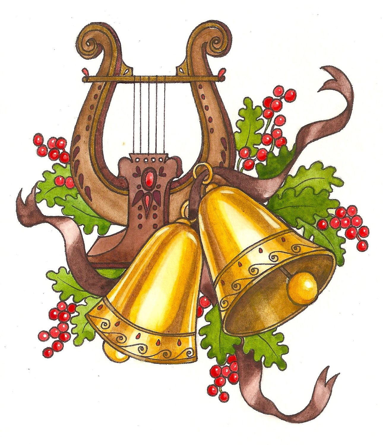 1290x1500 Christmas Musical Instruments Clipart