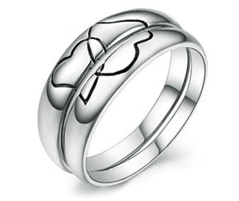 335x282 Interlocking Heart Puzzle Matching Wedding Rings Bands In 925