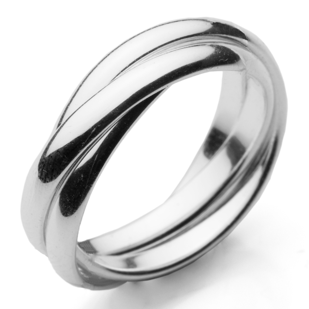 1000x1000 925 Sterling Silver Russian Wedding Ring 3 X 3mm Bands Size K