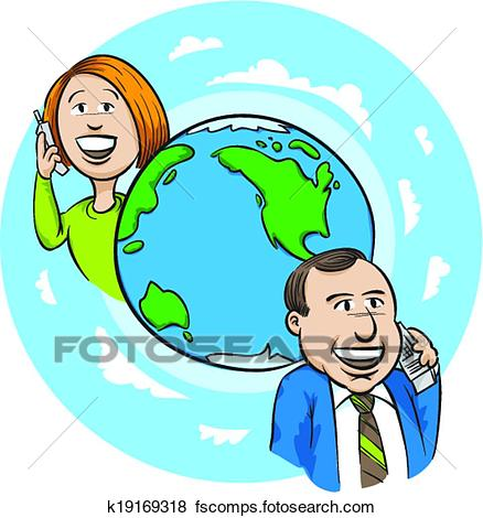 438x470 Clip Art Of International Call K19169318