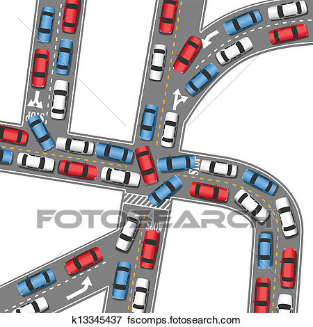 450x470 Clip Art Of Auto Traffic Jam Busy Road Cars Drive K13345437