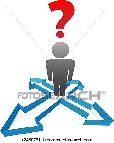 376x470 Clipart Of Question Person Undecided In Decision Direction Arrows