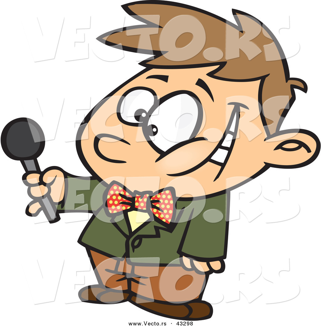 1024x1044 Vector Of A Interviewing Cartoon Boy Holding Out A Microphone
