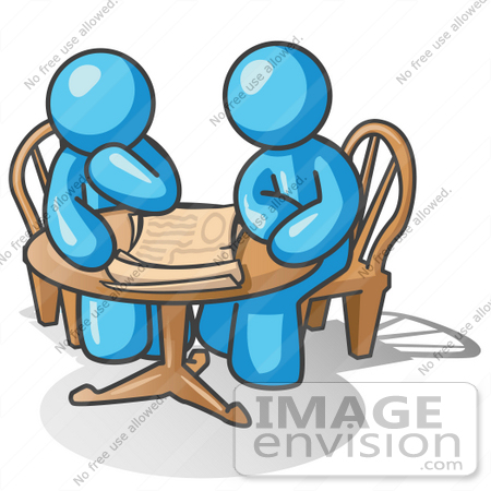 450x450 Clip Art Graphic Of Sky Blue Guy Characters Reading