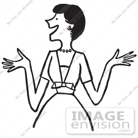 450x450 Cartoon Of An Outgoing Lady Showing Excitement Or Making