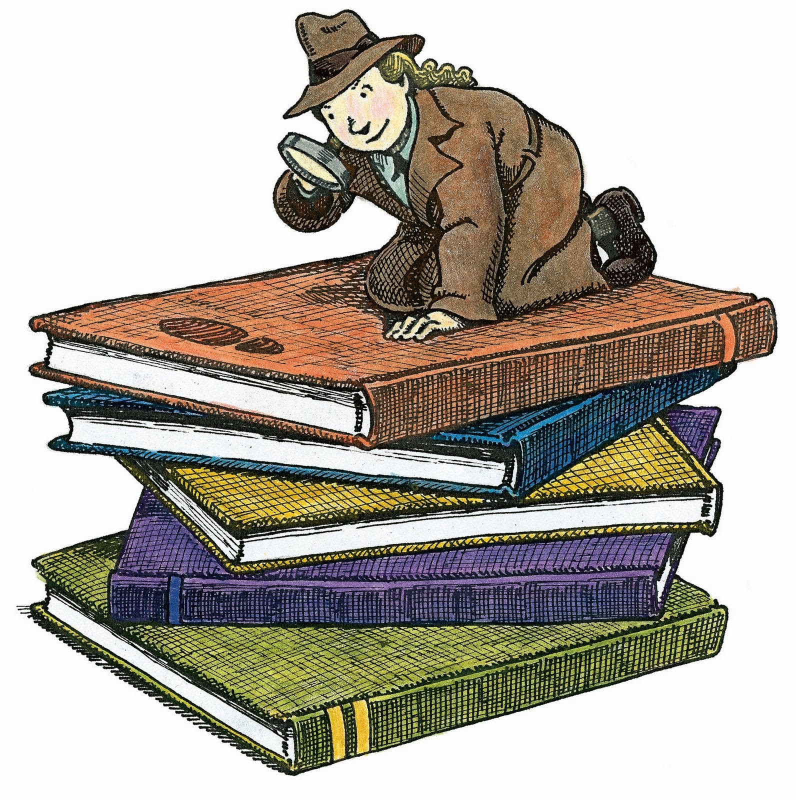 1592x1600 Reading Detective Clipart