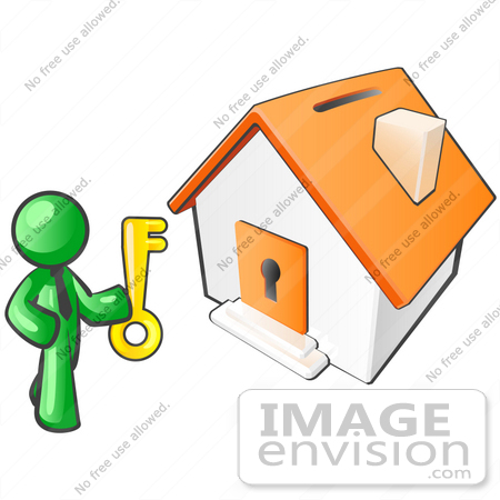 450x450 Clip Art Graphic Of A Green Guy Character Holding A Golden Key