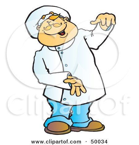 450x470 Clipart Illustration Of A Friendly Male Chef Serving Fish