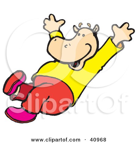 450x470 Clipart Illustration Of A Yellow Hippo Parachuting In The Sky By