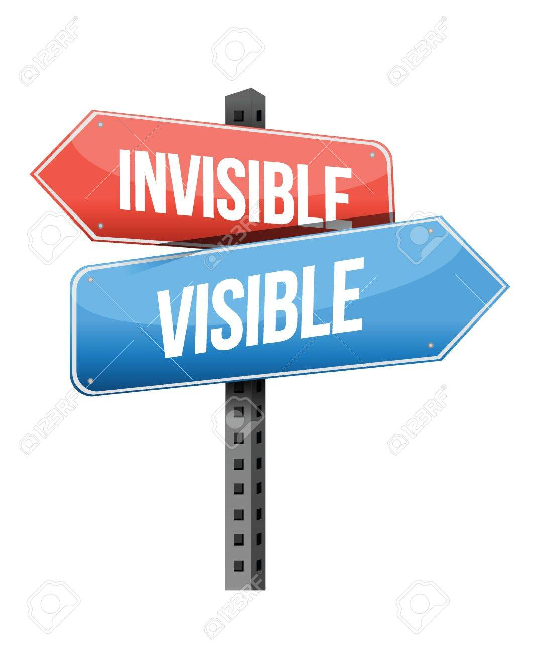 1070x1300 Invisible, Visible Road Sign Illustration Design Over A White