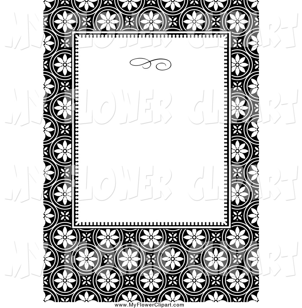 1024x1044 Clip Art Of A Black And White Floral Invitation Border By