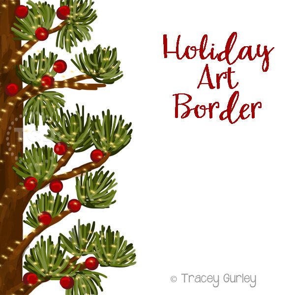600x600 Holiday Art Border, Invitation Art, Holiday Clip Art, Pine Clip