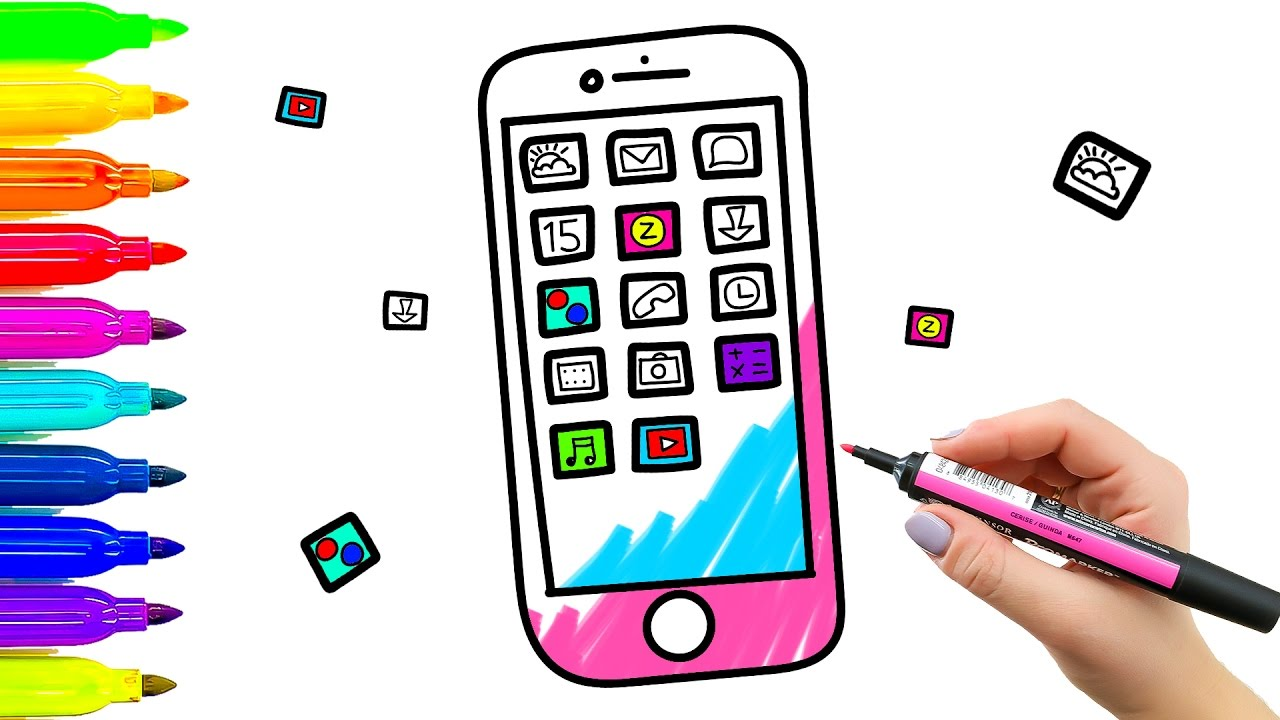 1280x720 Color Mobile Phone Coloring Book And Drawing For Kids. Learning