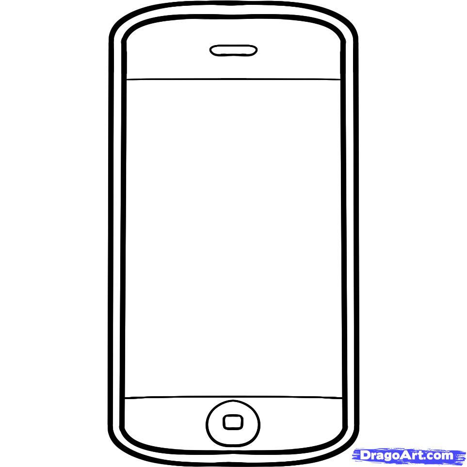 963x963 Iphone Clipart Black And White